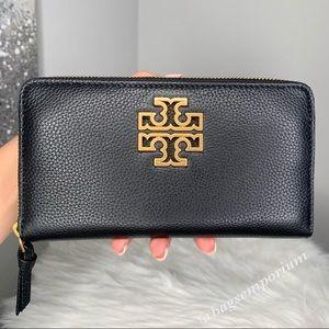 Tory Burch Britten Zip Continental Leather Wallet